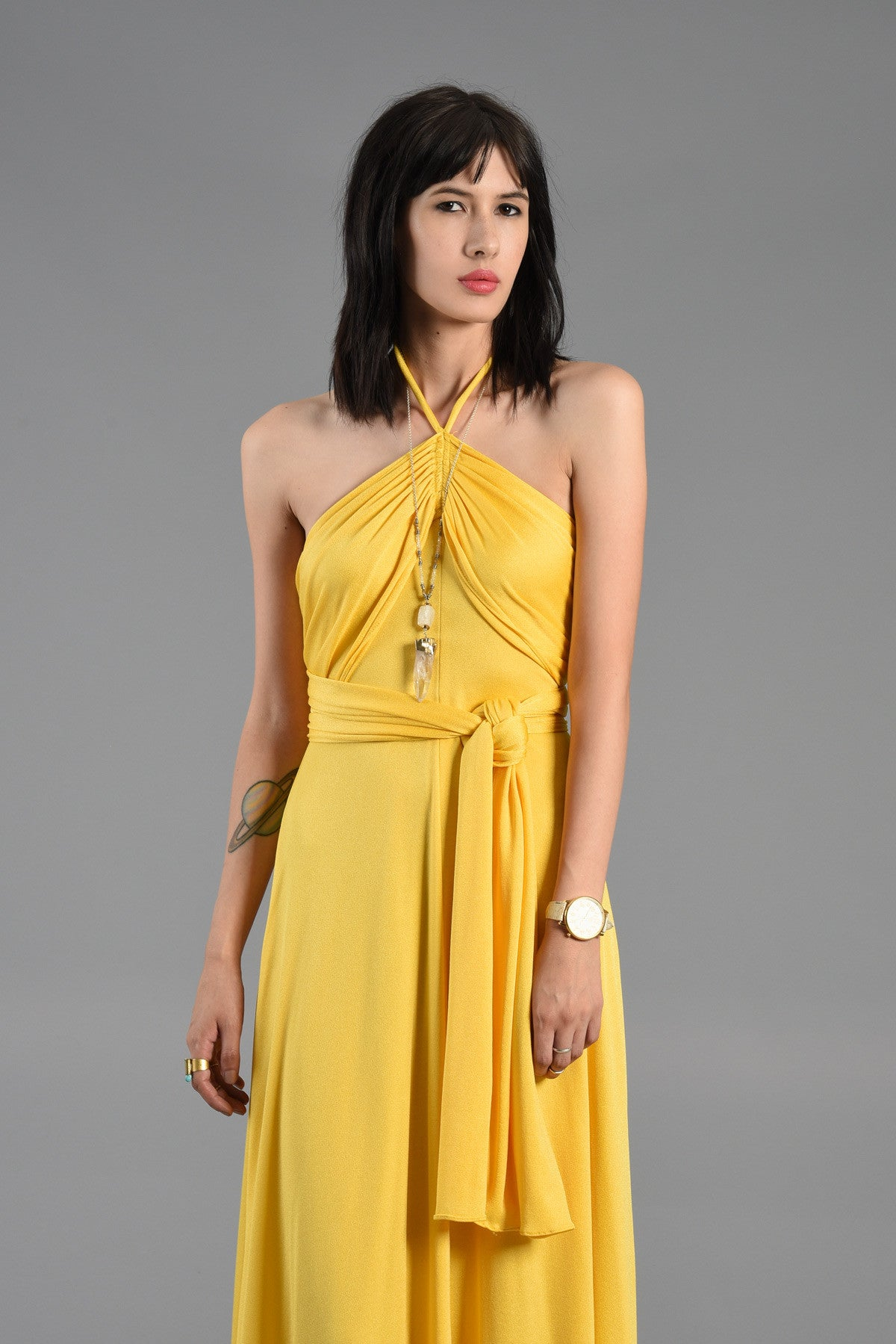 Yellow dresses collection - Canary yellow backless cocktail dress.