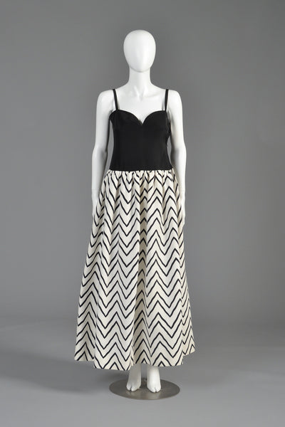 Yves Saint Laurent Chevron Striped Ball Gown