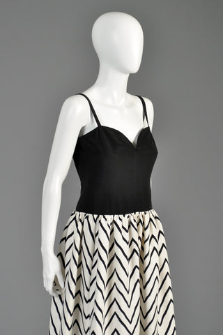 Vintage 1980 Yves Saint Laurent Chevron Striped Ball Gown