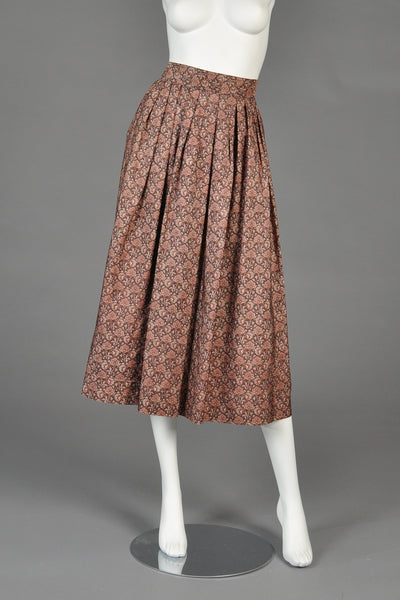 Circa 1977 Yves Saint Laurent Silk Floral Skirt