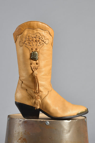 Zodiac Tan Leather Embroidered Tassel Cowboy Boots 10
