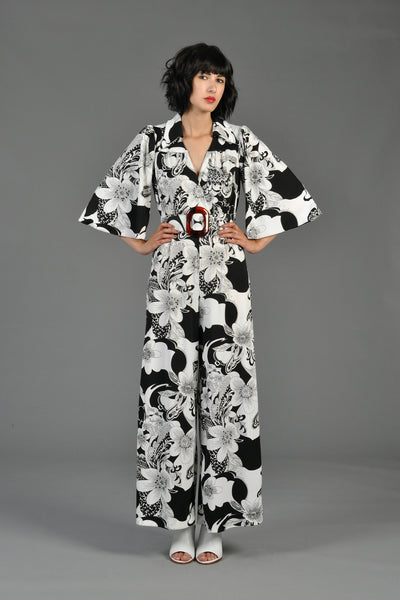 70s B+W Bell Sleeve Tropical Floral Jumpsuit