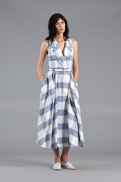 Blue + White 1980s Grid Dress with Full Skirt