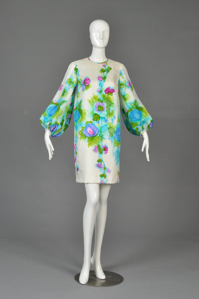 1960s Mr Blackwell Hand Painted Silk Dress