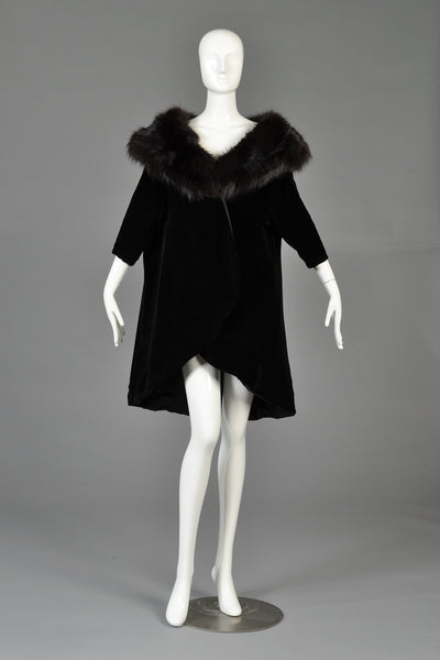 Mr Blackwell 1960s Velvet + Fox Fur Tapered Swing Coat