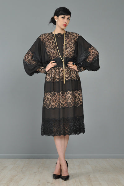 Adele Simpson Sheer Black Lace Party Dress
