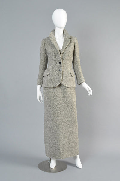 1960s Adolfo Tweed Maxi Dress + Jacket