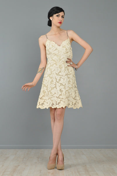 Bill Blass Early Cutwork Lace Cocktail Dress