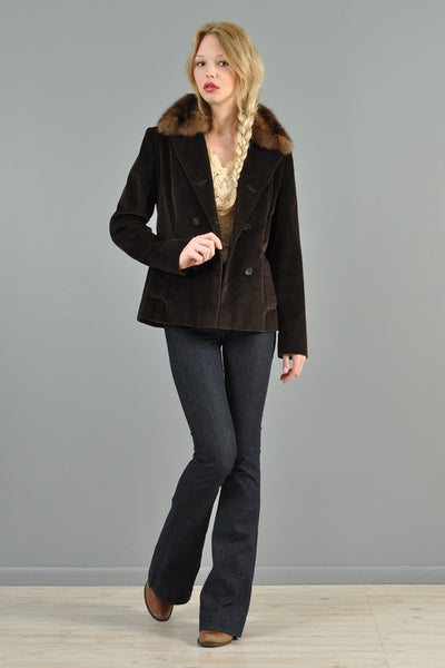 Bill Blass Russian Sable + Corduroy Jacket