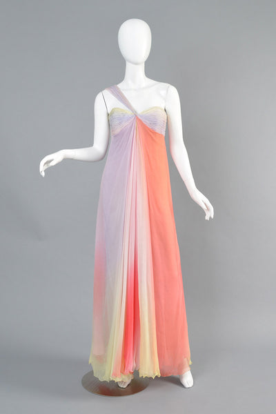 2005 Bill Blass Rainbow Silk Chiffon One Shoulder Gown