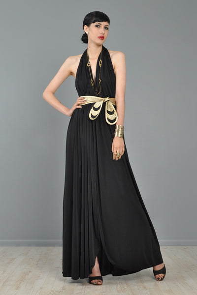 Bill Tice Backless Gold Belted 1970s Grecian Dress