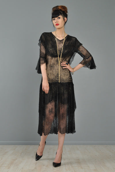 Shawl Collar 1920s Lace Flapper Dress