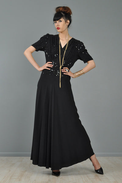 Sequined 1940s Rayon Crepe Evening Gown