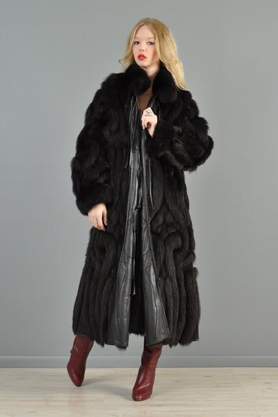 Grunstein Reversible Avant Garde Fox Fur + Leather Coat