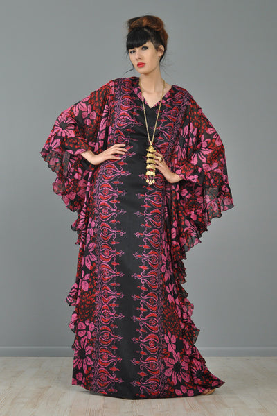 Sheer Ruffled 1970s Ethnic Floral Caftan