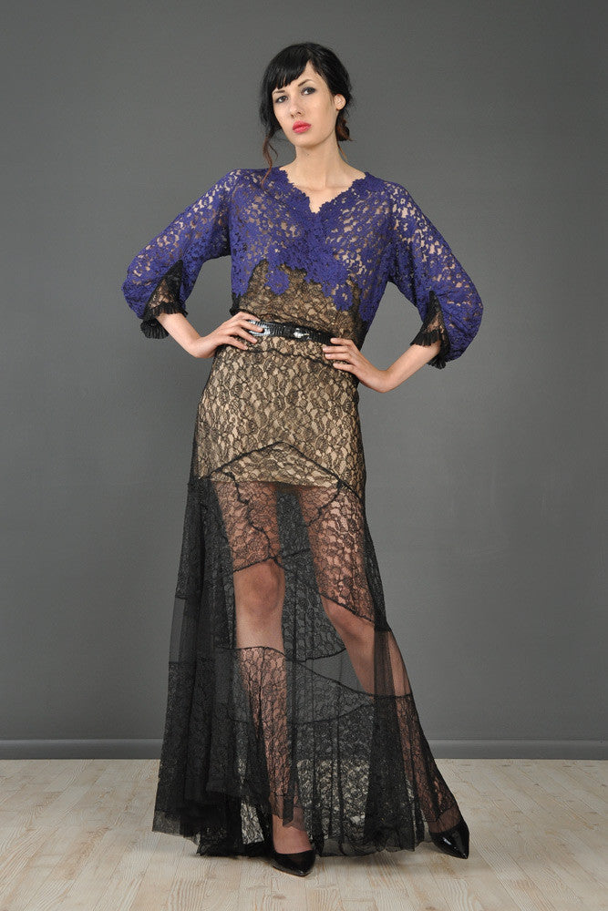 Violet + Black Sheer Lace 1930s Gown With Train   BUSTOWN MODERN