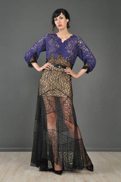 Violet + Black Sheer Lace 1930s Gown With Train