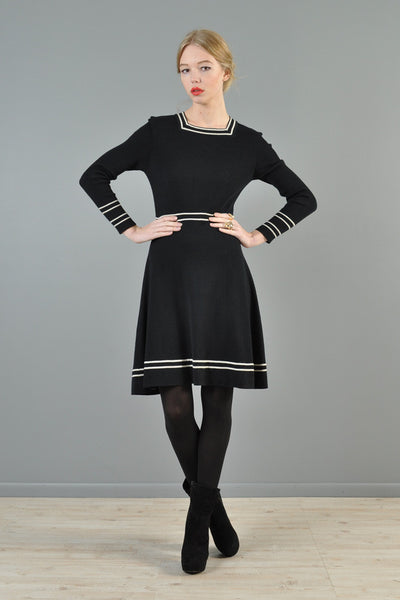 Black + White Rib Knit 1970s Dress