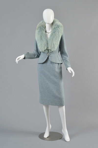 1950s New Look Fox Fur + Wool Suit
