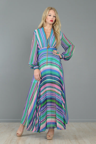 Bias-Cut Popsicle Stripe Chiffon Maxi Dress