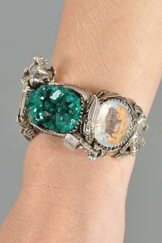 Bob Stringer Sterling Silver + Druzy Buffalo Train Cuff