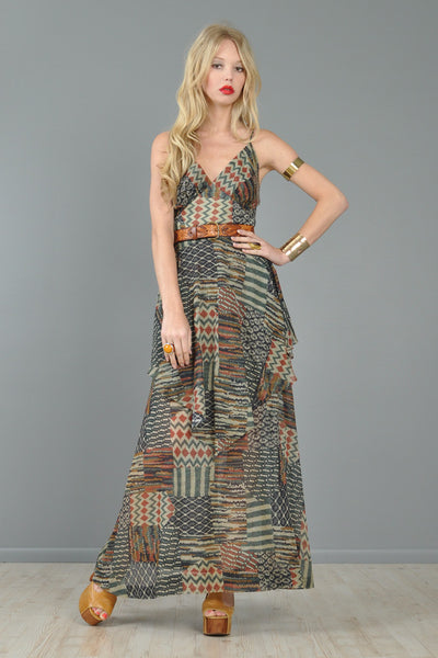 Ethnic Patchwork 1970s Gauze Tiered Maxi Dress