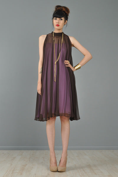 3-In-1 1960s Silk Chiffon Convertible Trapeze Dress
