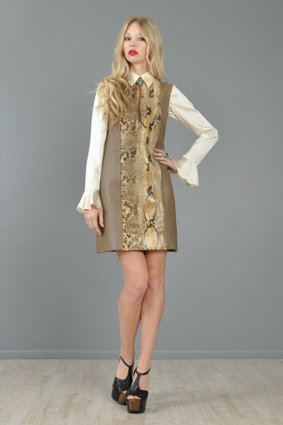 Python Skin + Leather 1960s Tunic Dress