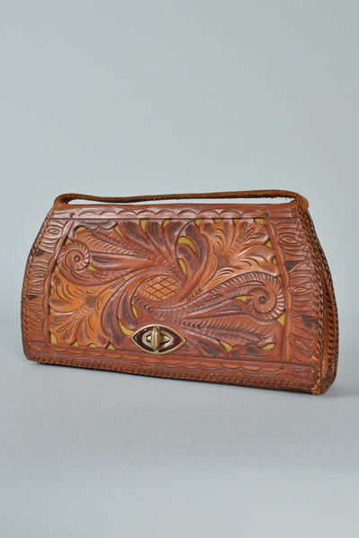 Hand Tooled Cutwork Leather Purse