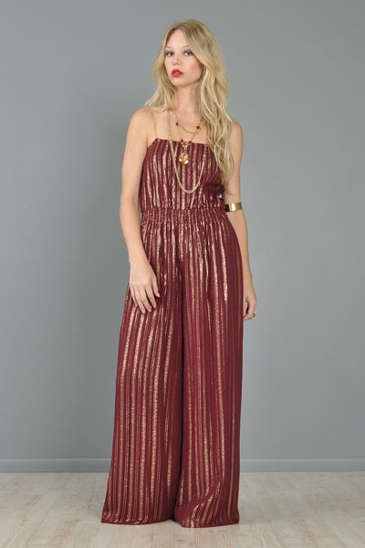 Metallic Indian Gauze Palazzo Jumpsuit