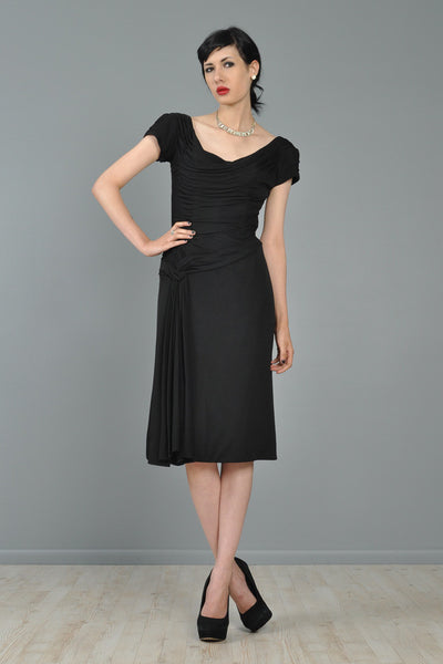 Ceil Chapman 1950s Draped Cocktail Dress