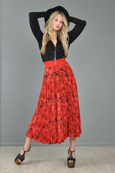 Christian Dior Boutique Pleated Floral Maxi Skirt