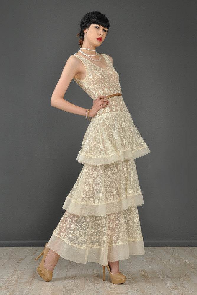 Tiered Floral Embroidered Lace 1930s Wedding Gown | BUSTOWN MODERN