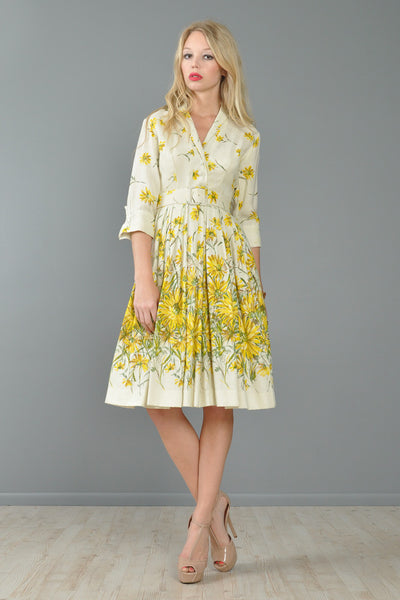 Hand Painted Daisies 1950s Party Dress