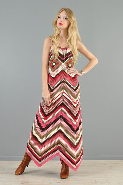Custom 1-Of-A-Kind Zigzag Crochet Maxi Dress