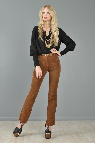 Dolce & Gabbana Cocoa Suede High-Waisted Pants