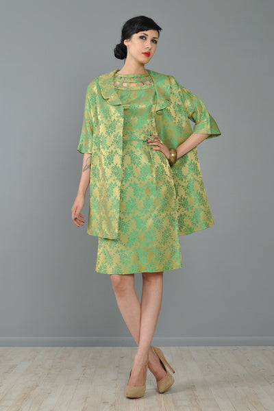 Asian Silk Brocade Cutout Cocktail Dress + Jacket