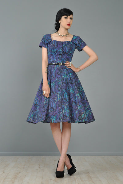 Estevez for Grenelle 1950s Paisley Print Party Dress