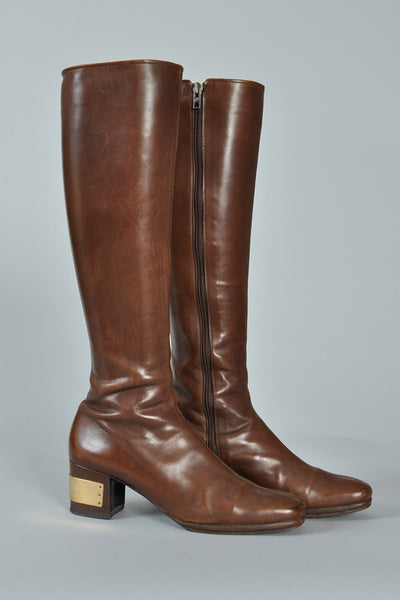 Givenchy 1960s Logo Leather Boots