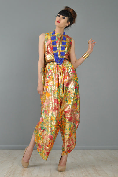 Opulent Silk Asian Brocade Cape-Back Jumpsuit