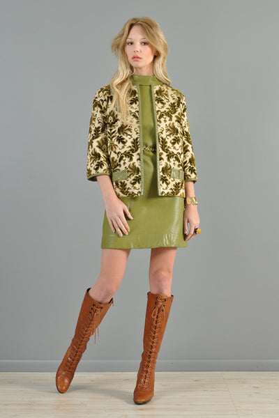 1960s Olive Leather Dress w/Tapestry Jacket