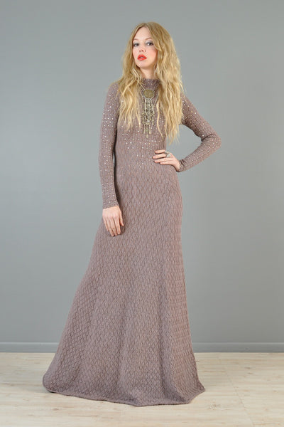 Rhinestone Studded Crochet Maxi Dress