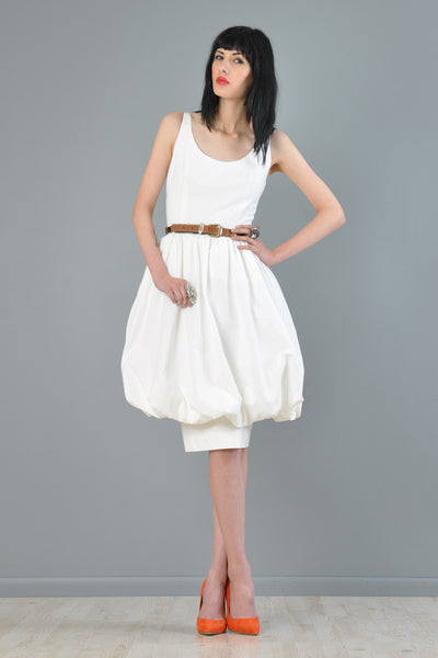 Guy Laroche White Cotton Bubble Dress
