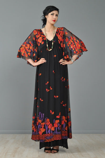 Janice Wainwright Embroidered Silk Butterflies Gown
