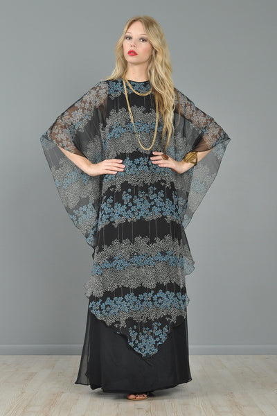 Jean Varon 1970s Chiffon Cape Dress