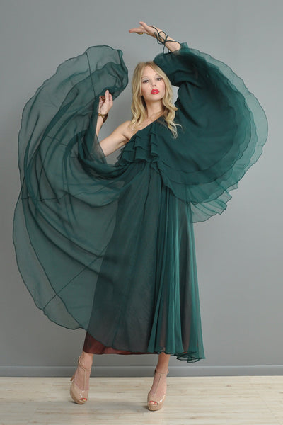 Jean Varon Sheer Chiffon One-Arm Boho Gown