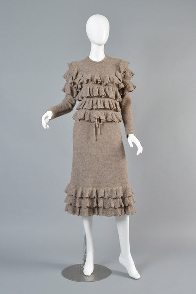 Krizia Alpaca Knit Ruffle Dress