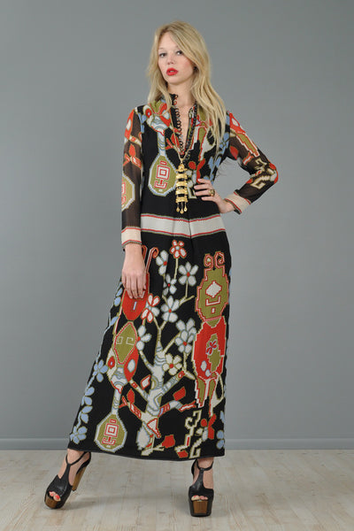 Lanvin 1971 Turkish Print Silk Maxi Dress