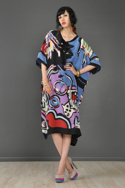 Michaele Vollbrach Angel Fish Silk Kimono Dress