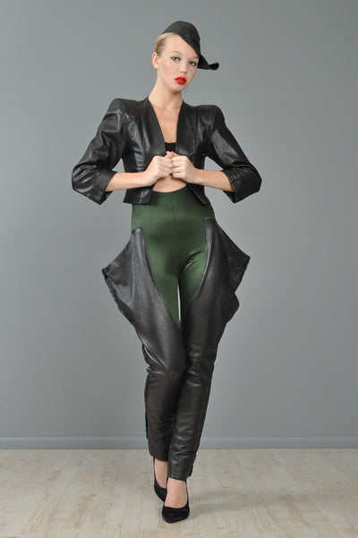 Norma Kamali 1979 Black Leather 3 Piece Ensemble